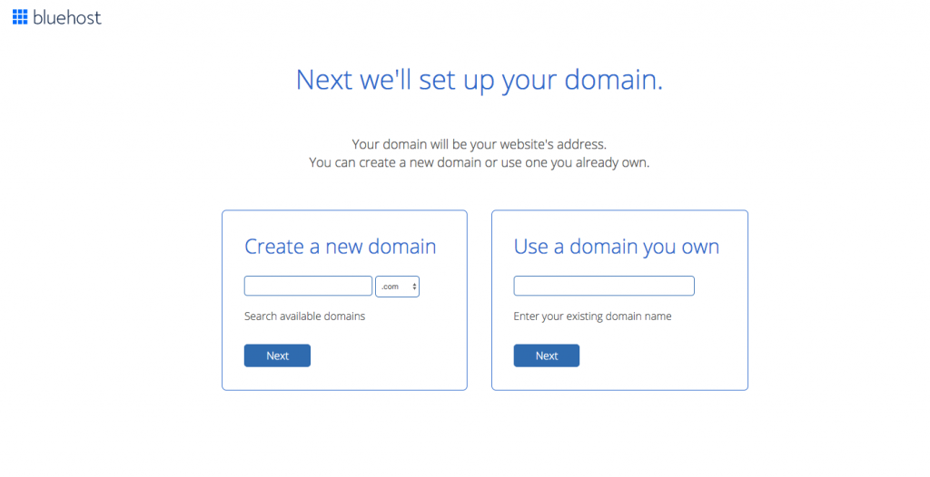 Buy Web hosting from Bluehost - select domain name